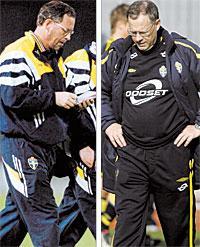 25 mars 1998 (T.v) I Lars Lagerbäcks första match förlorar Sverige med 4–0 mot Spanien. Två år senare kritiseras han och Tommy Söderberg hårt för ett misslyckat EM. 1 JUNI 2005 (T.H) Men sju och ett halvt år efter premiären är Lagerbäck den förbundskapten som suttit längst av alla på sin post. Nu hägrar VM i Tyskland.Foto: BILDBYRÅN