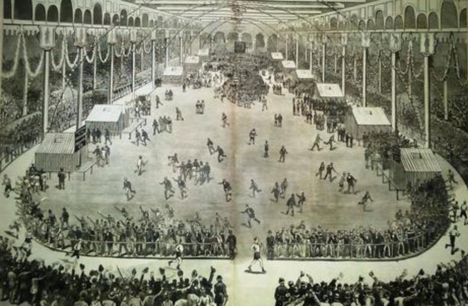Femte upplagan av gångtävlingen Astley Belt i Madison Square Garden den 22 September 1879.