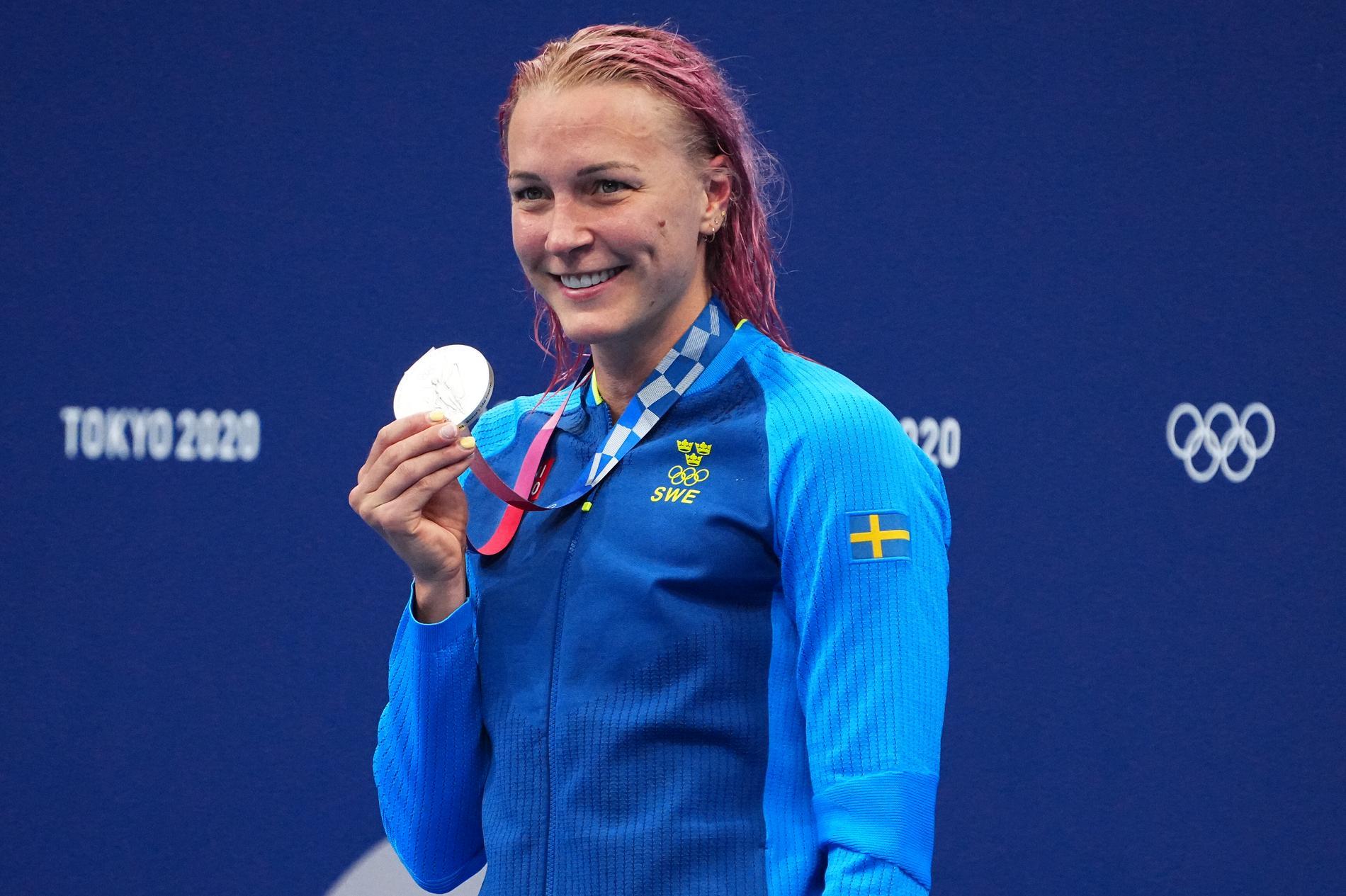 Sarah med silvermedaljen.
