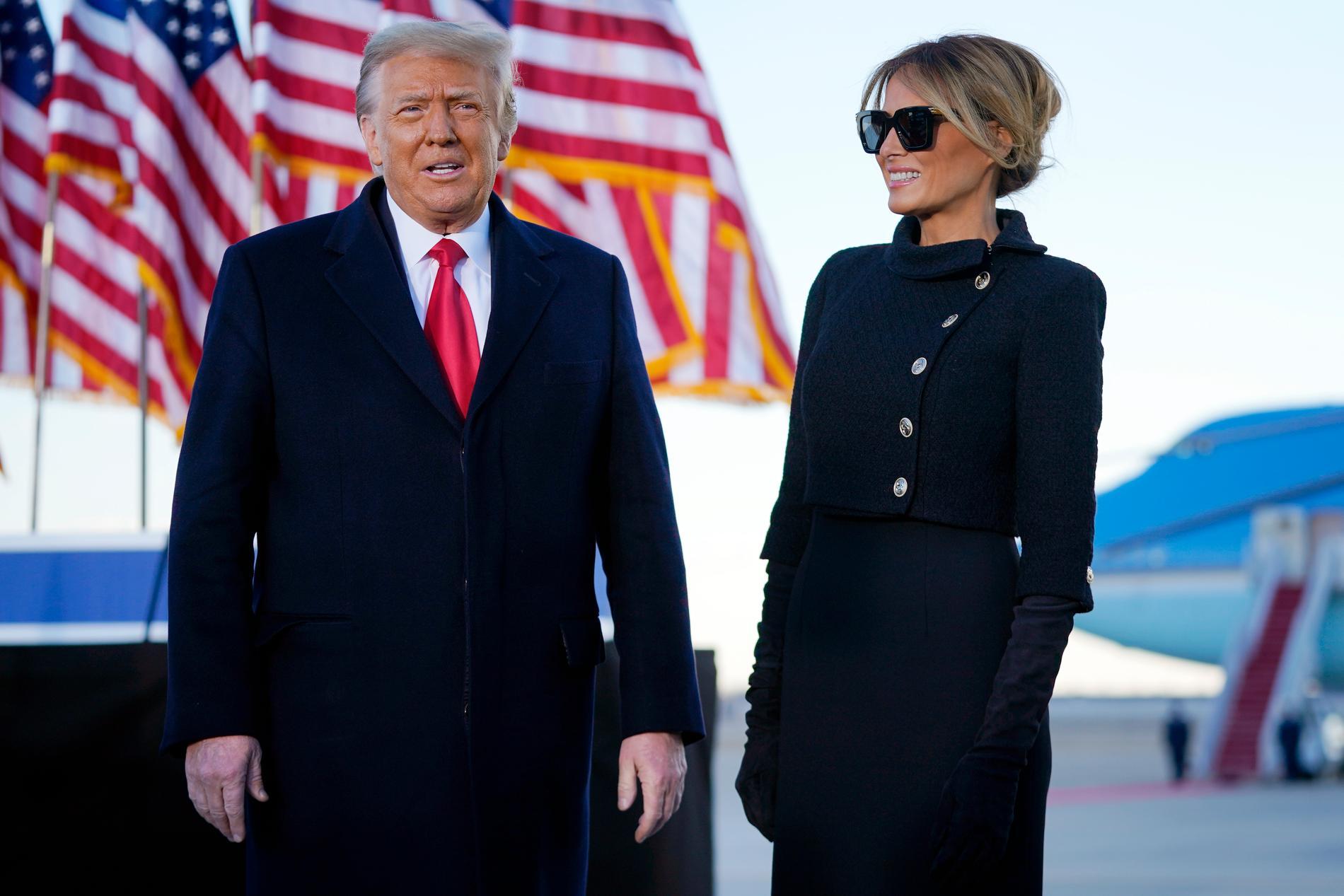 USA:s tidigare presidentpar Donald och Melania Trump.