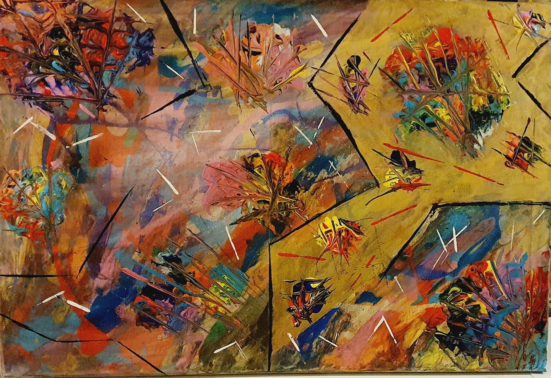 Tjejerna målar framför allt abstrakta motiv. Den här tavlan, som redan är såld, har Alexandra målat.