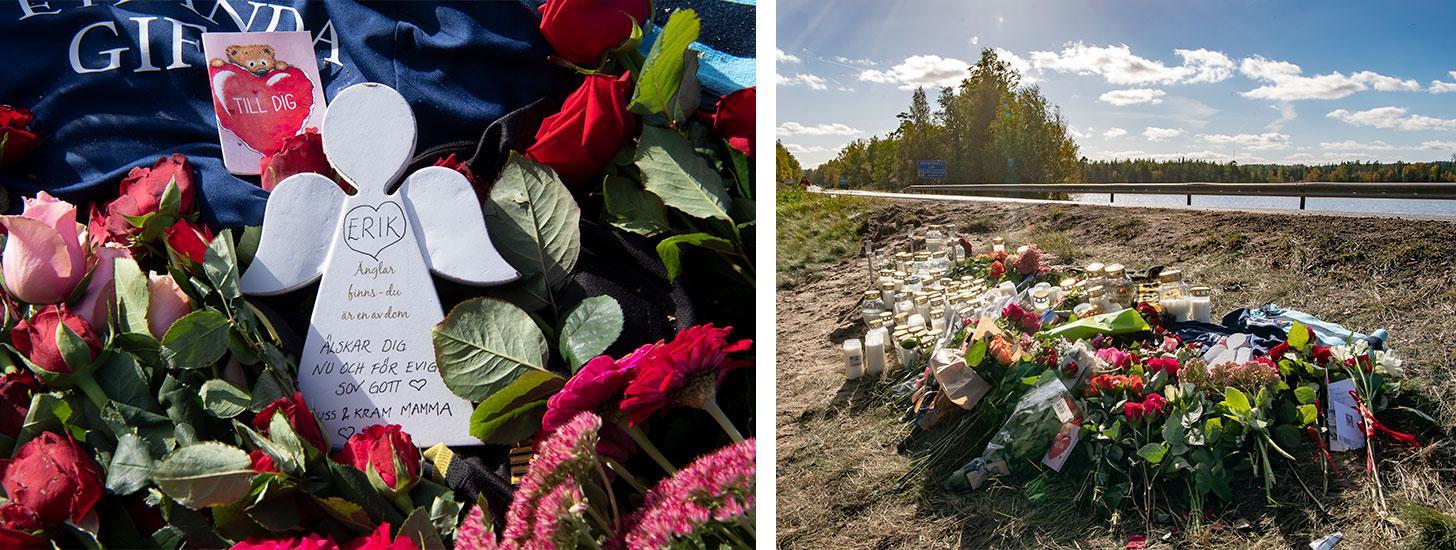 """Bland blommorna vid olycksplatsen finns en ängel med en text till Erik från hans mamma: """"Älskar dig nu och för evigt, sov gott, puss & kram mamma""""."""