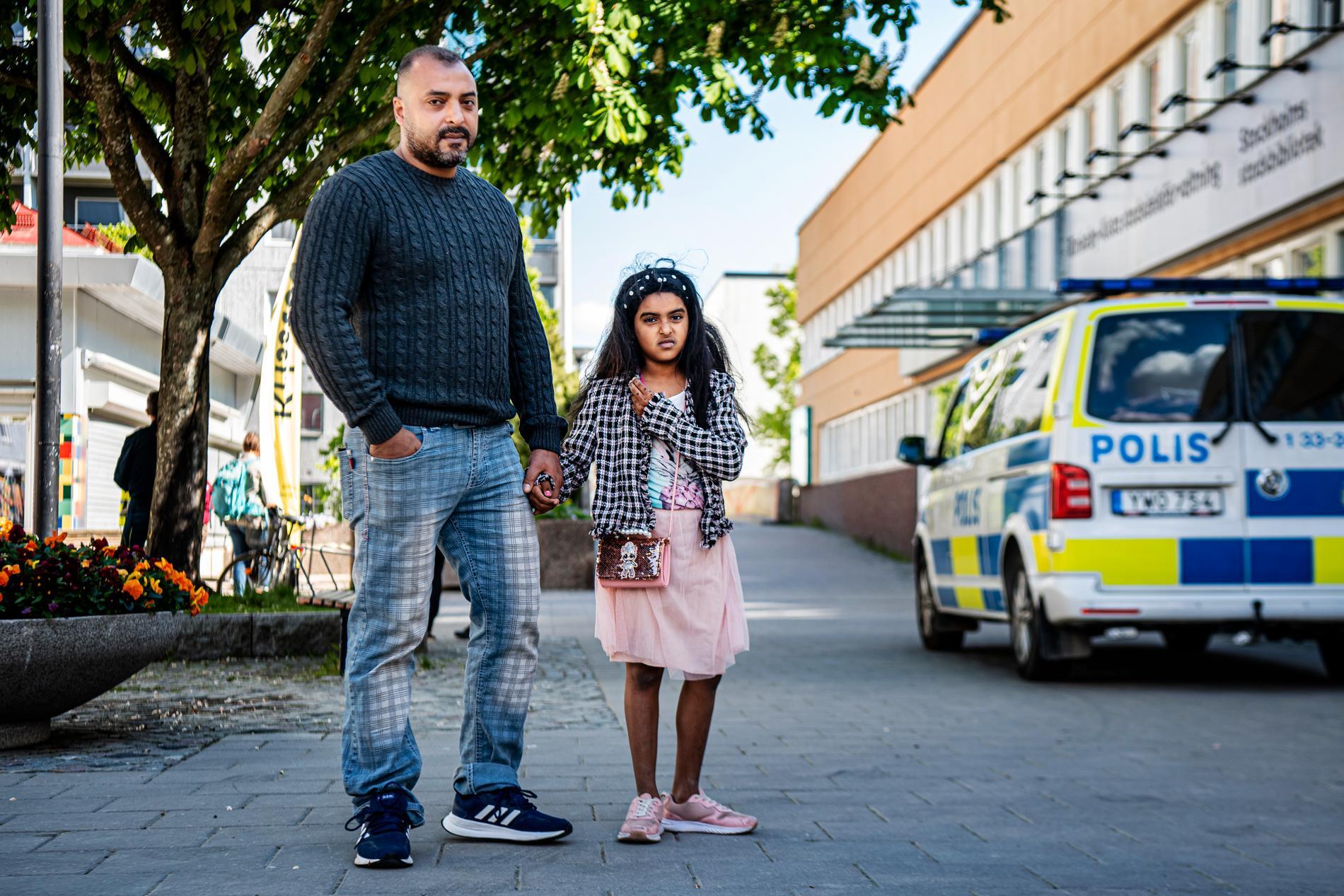 Flerbarnspappan Amin, 41, ochhans dotter Fardouz, 8,