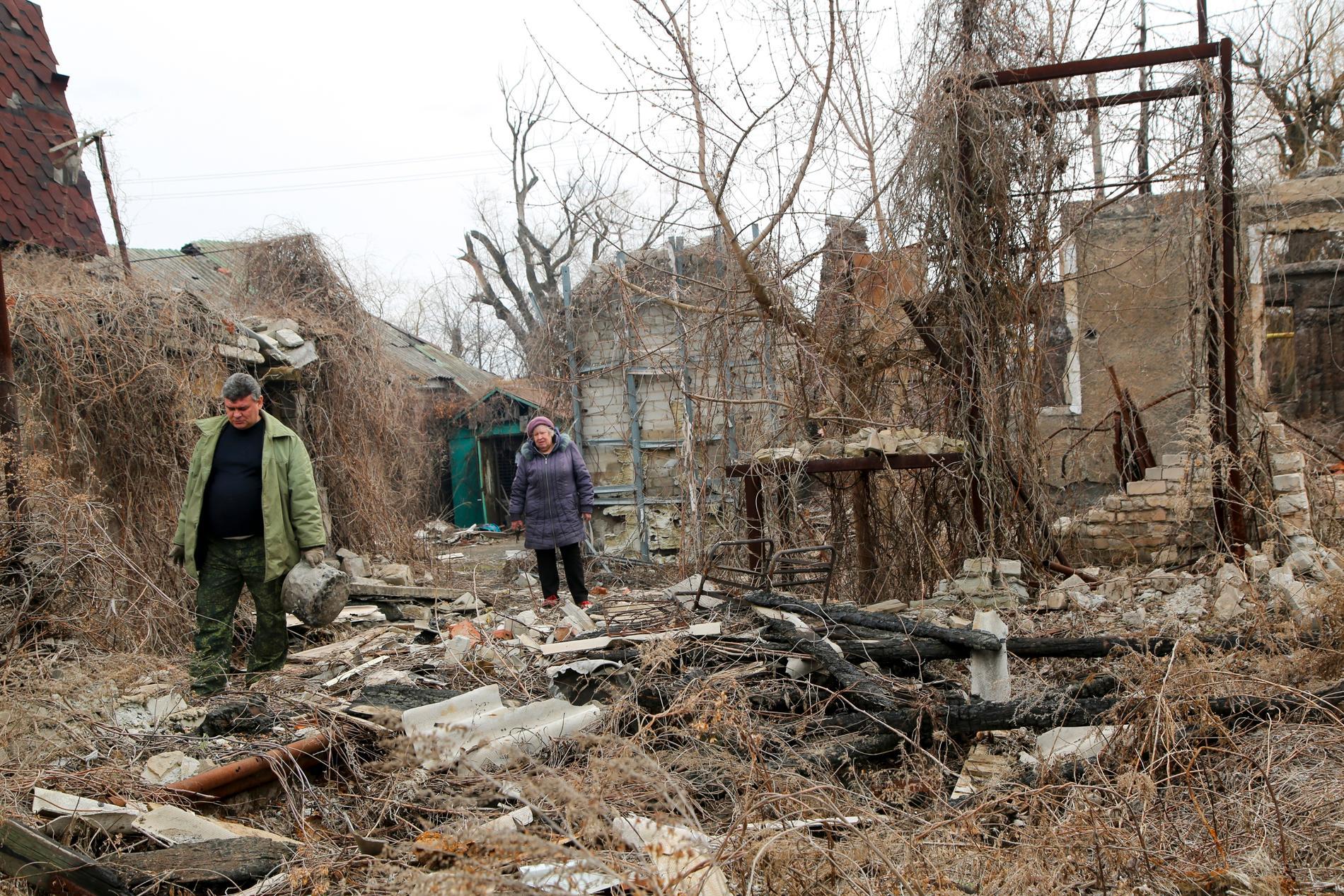 Förstörelsen är stor efter proryska separatisters attacker i Donetsk. Arkivbild.