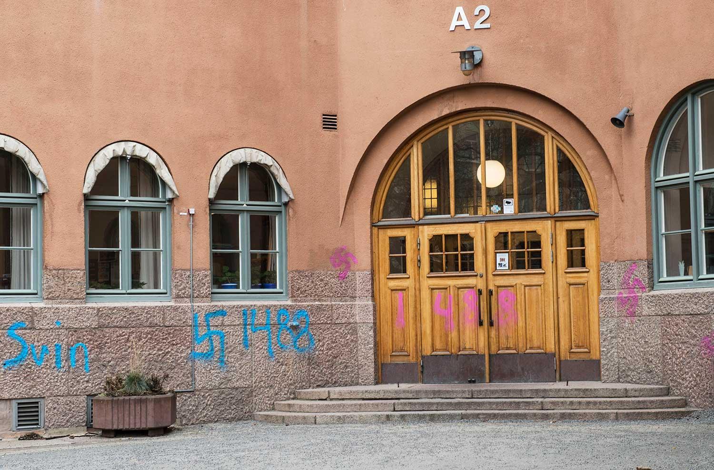 Hakkors klottrade på Vasa Real – en annan skola som utsatts för judehat.
