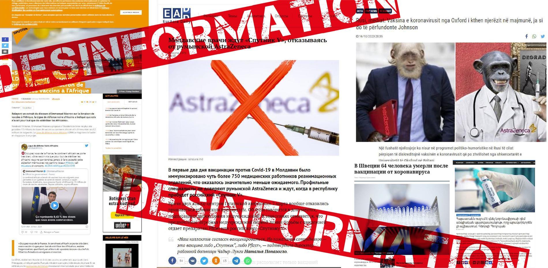 Ryssland sprider desinformation för att så tvivel kring Astra Zenecas och andra covid-vaccin utvecklade i väst, enligt experter.