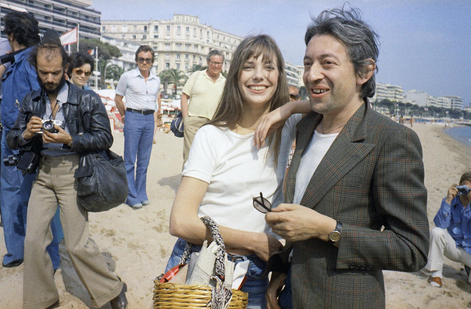 Jane Birkin och Serge Gainsbourg på filmfestivalen i Cannes 1974.