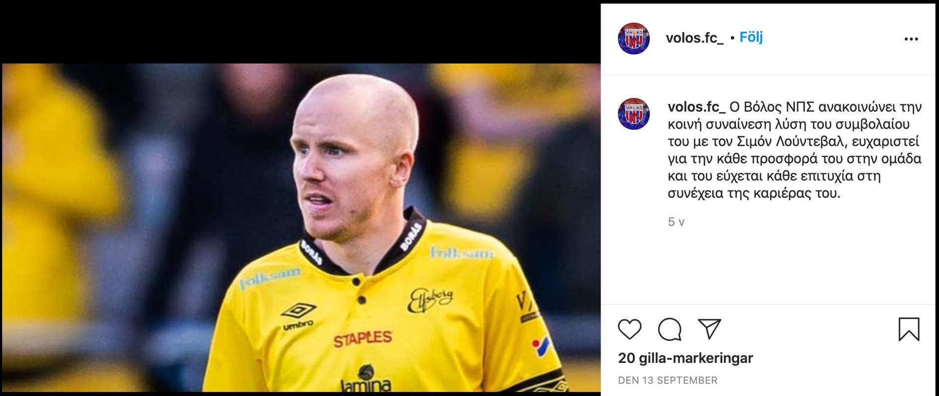 Volos officiella Instagramkonto den 13 september