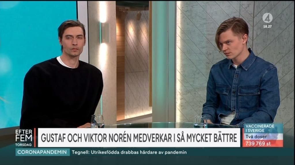 """Gustaf och Viktor Norén i """"Efter fem"""" i TV4."""
