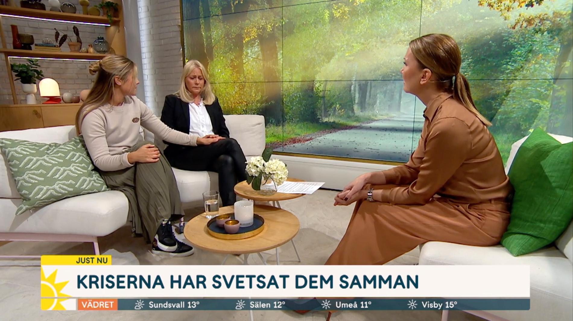 """Nina Gunke med guddottern Julia Andrén i """"Nyhetsmorgon"""", TV4."""