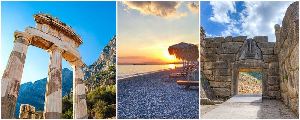 Olympia och Mykene är två spännande lämningar från Antiken. Den som är badsugen får inte missa stranden i Kalamata.