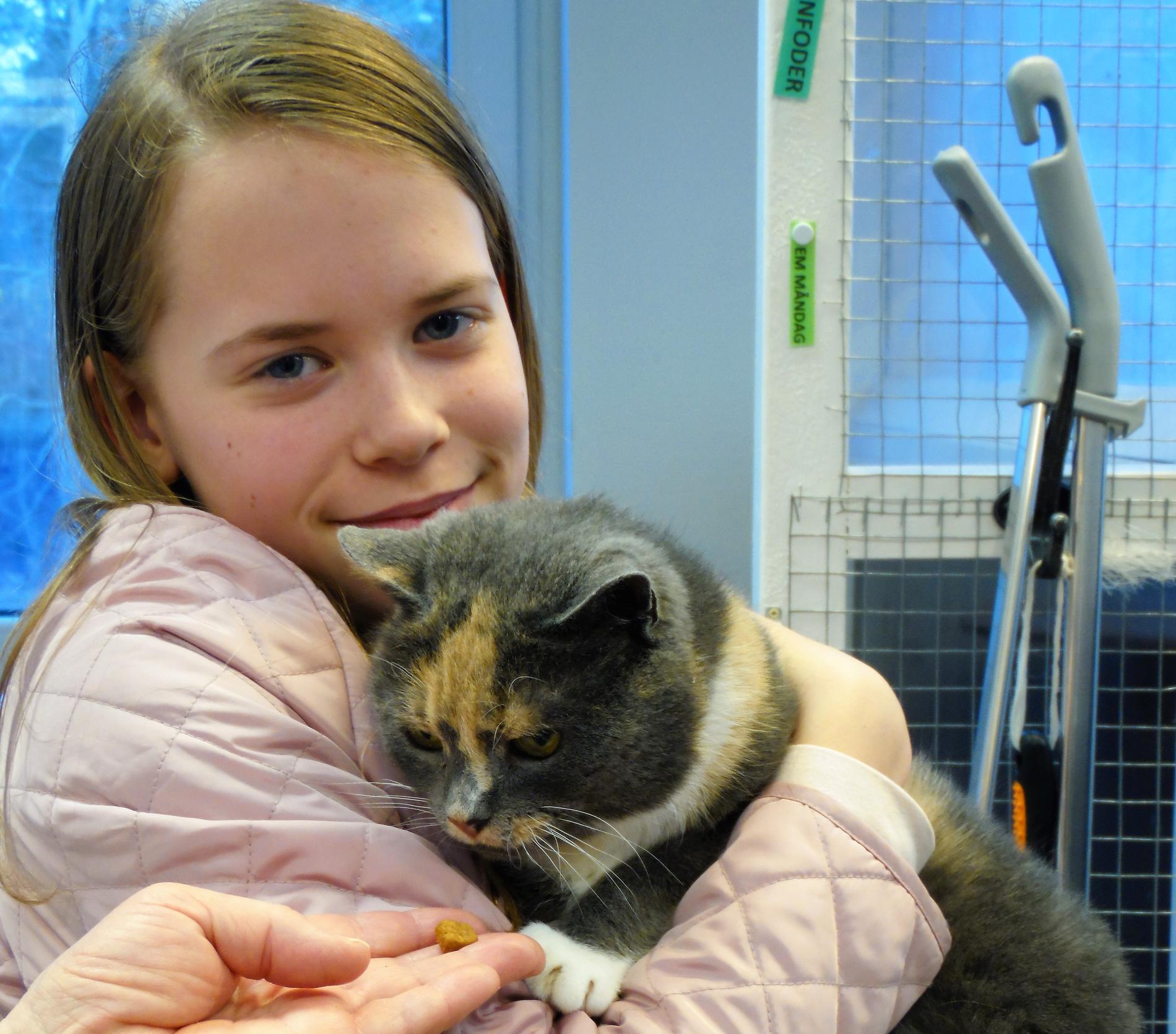 Här återförenas lillmatte Maja Vestersten med katten Skrållan.