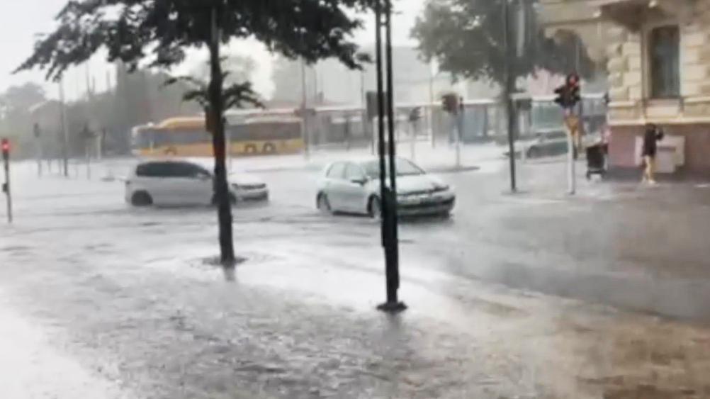 Stora regnmängder föll i Kristianstad på onsdagen.