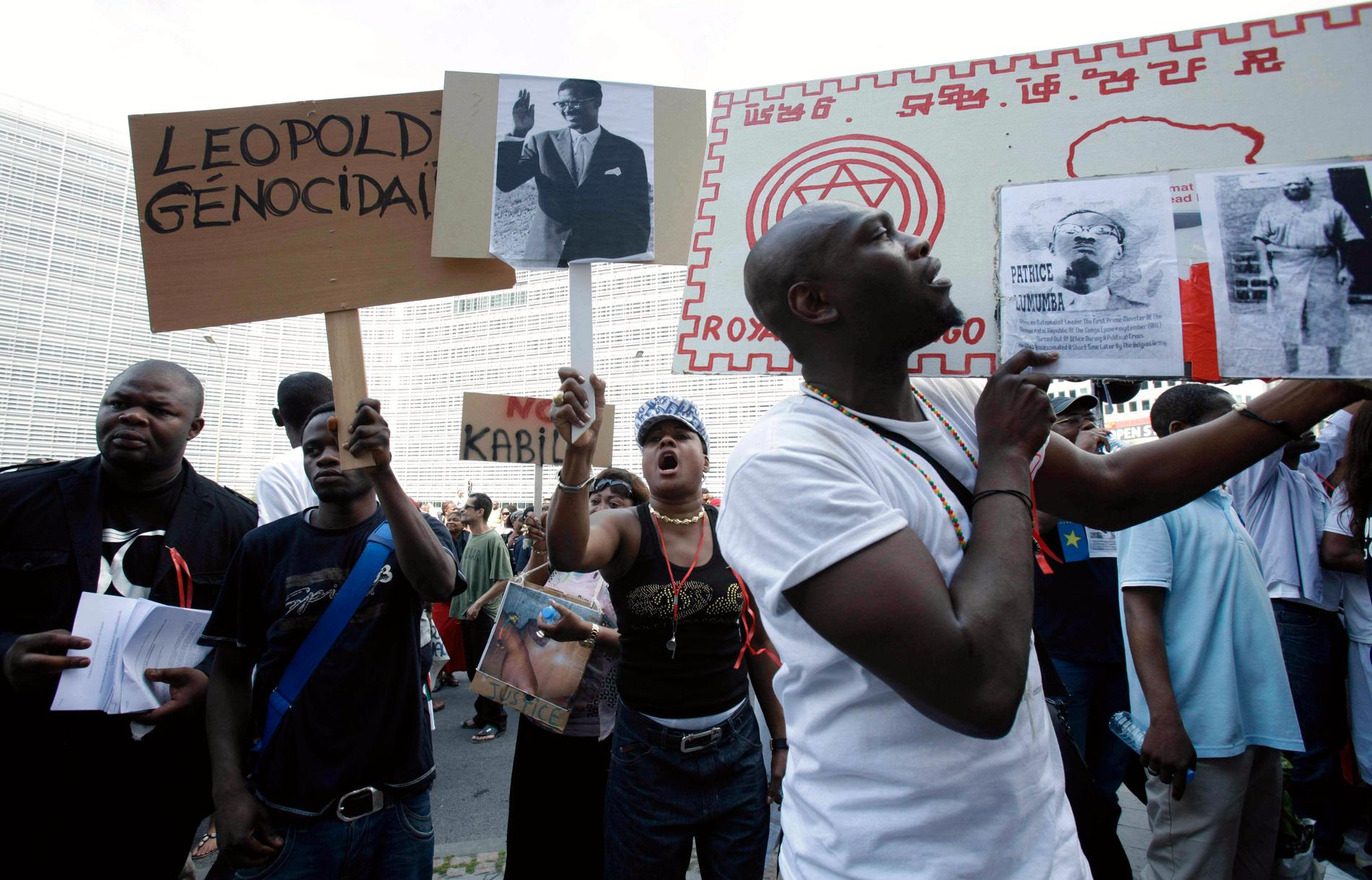 Protest i Bryssel mot skräckväldet i kolonin Kongo under kung LeopoldII. Arkivbild.