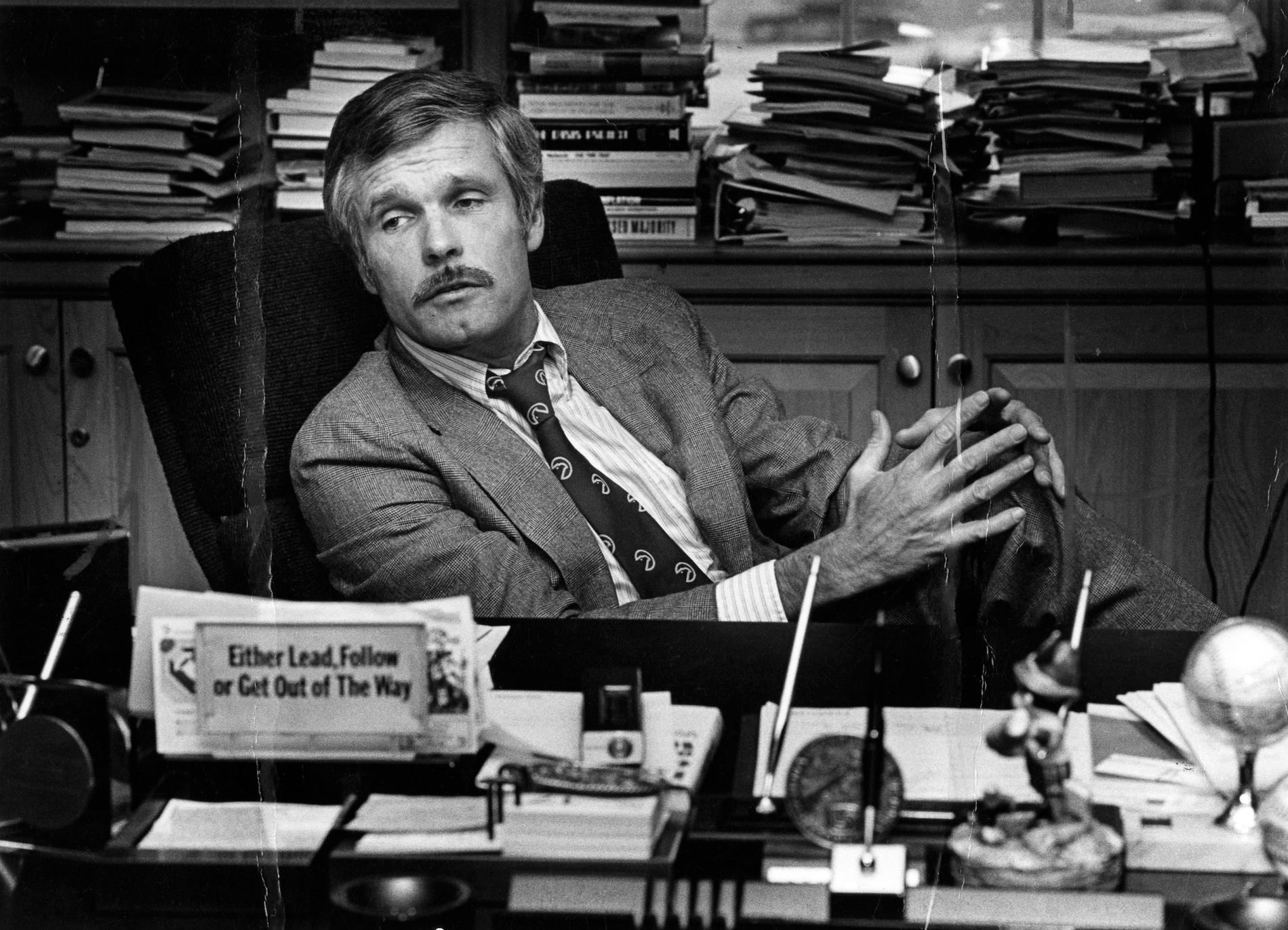Ted Turner på CNN:s kontor 1982.