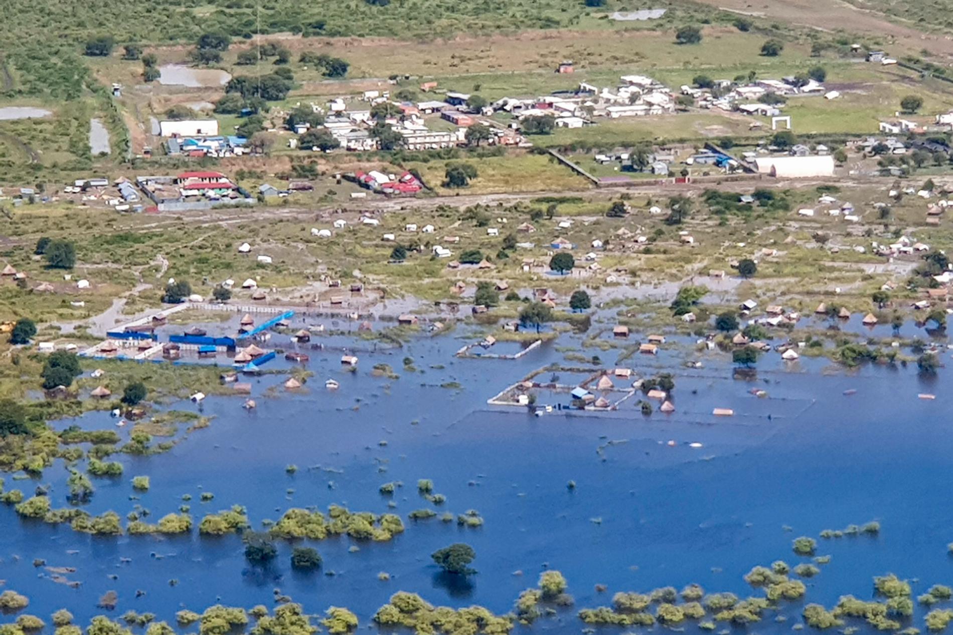 Ett område i Sydsudan som drabbats av översvämningar. Fotografi taget i oktober.