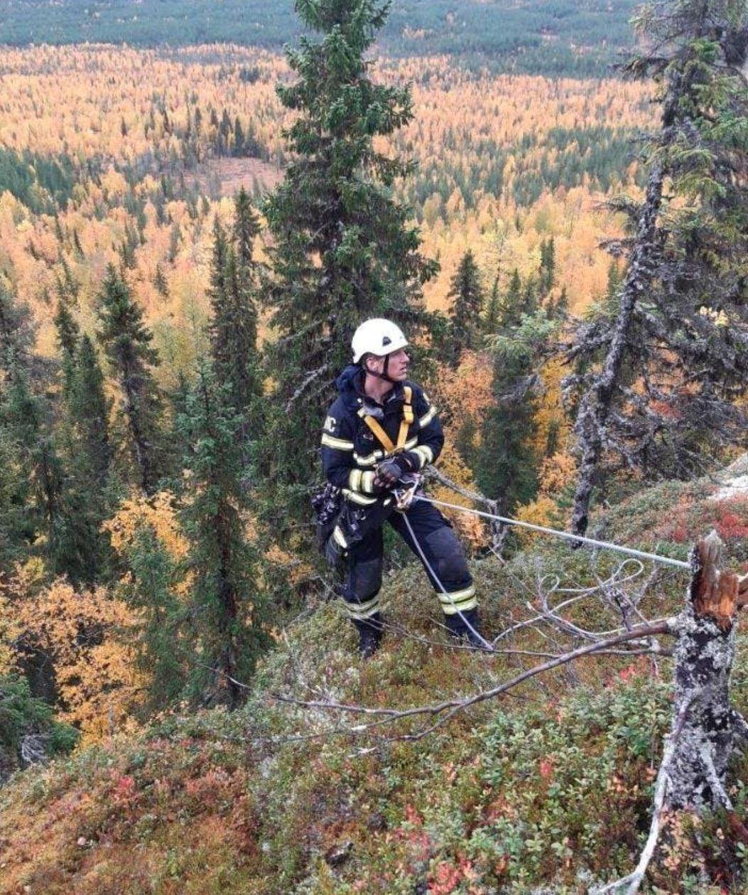 En klättrare räddade hunden, som fastnat på en klippavsats framför ett stup på cirka 25 meter.
