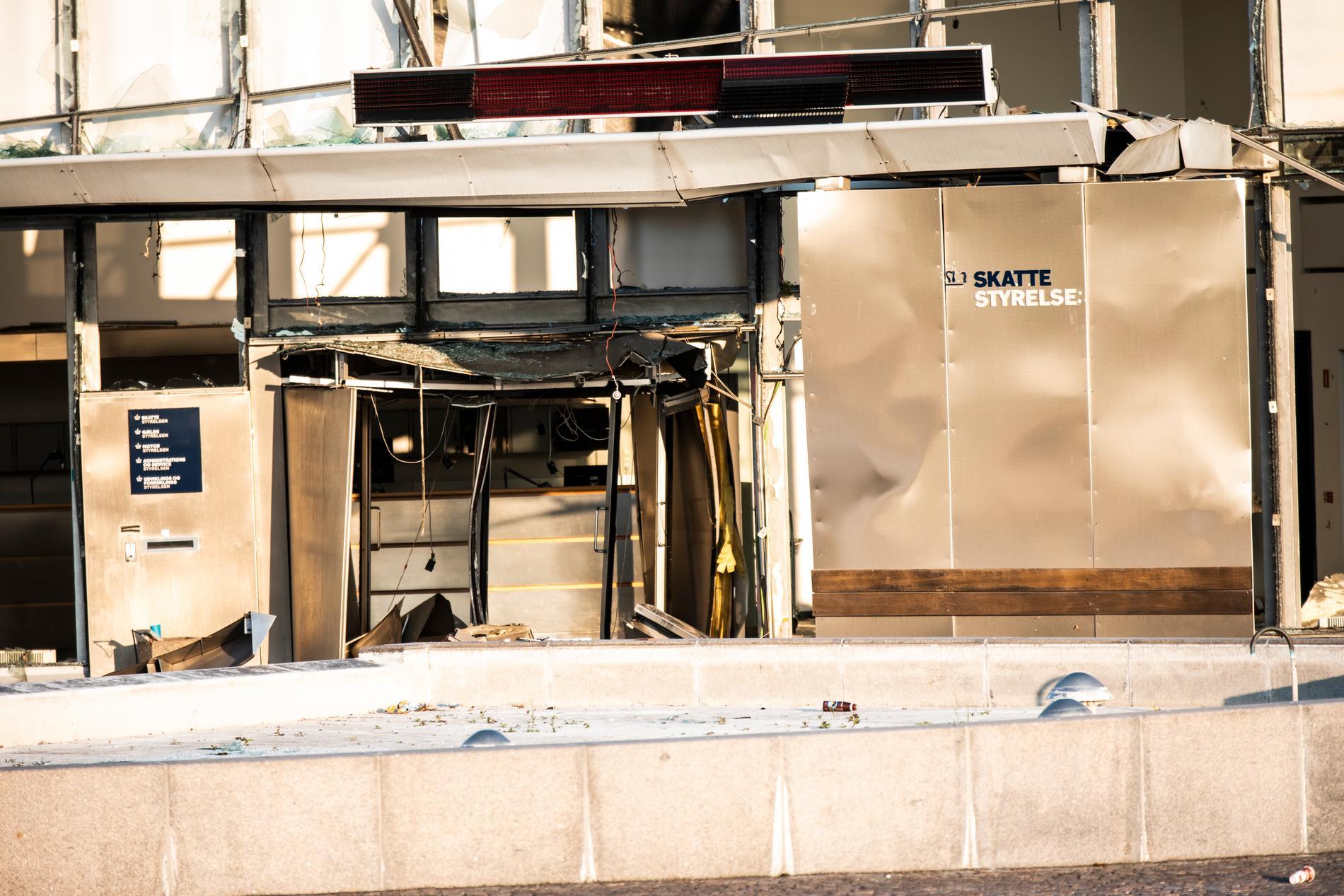 Bild på skadorna efter explosionen vid Skatteverket i Köpenhamn. Arkivbild.