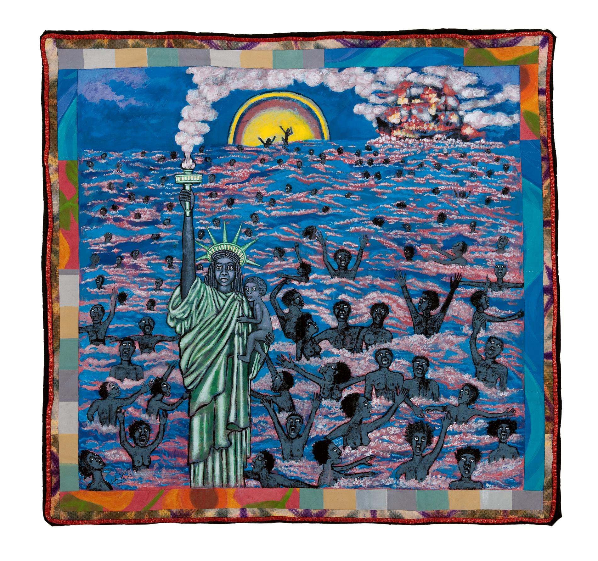 Faith Ringgold: American Collection #1: We Came To America, 1997.