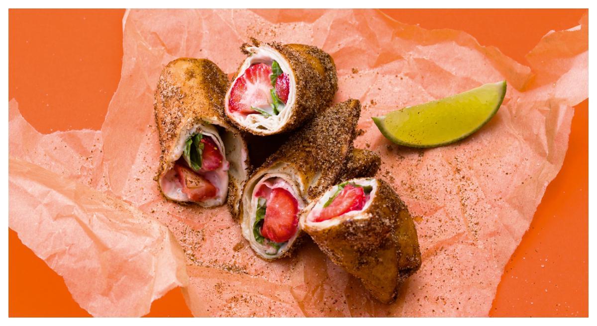 Vegansk efterrätt – Strawberry »no cheesecake« chimichanga