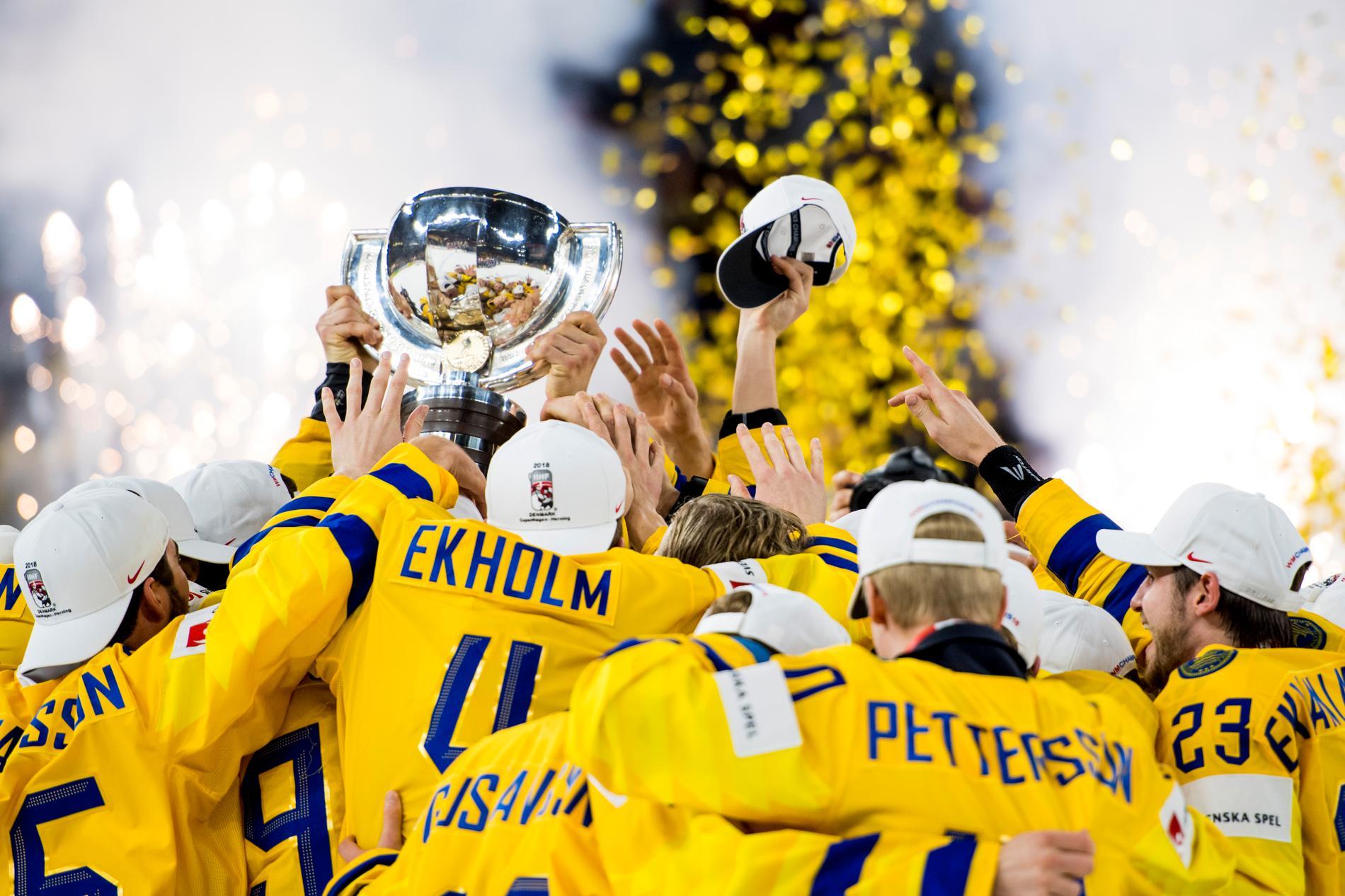 Tre kronor firar sitt VM-guld 2018.