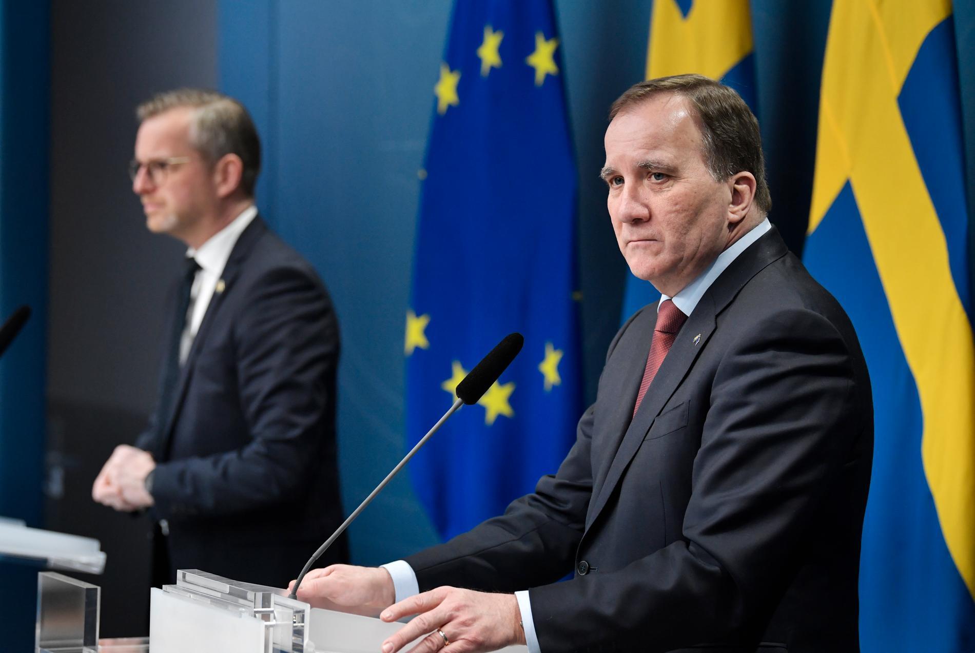 Pressträff med inrikesminister Mikael Damberg och statsminister Stefan Löfven med anledning av knivdådet i Vetlanda.