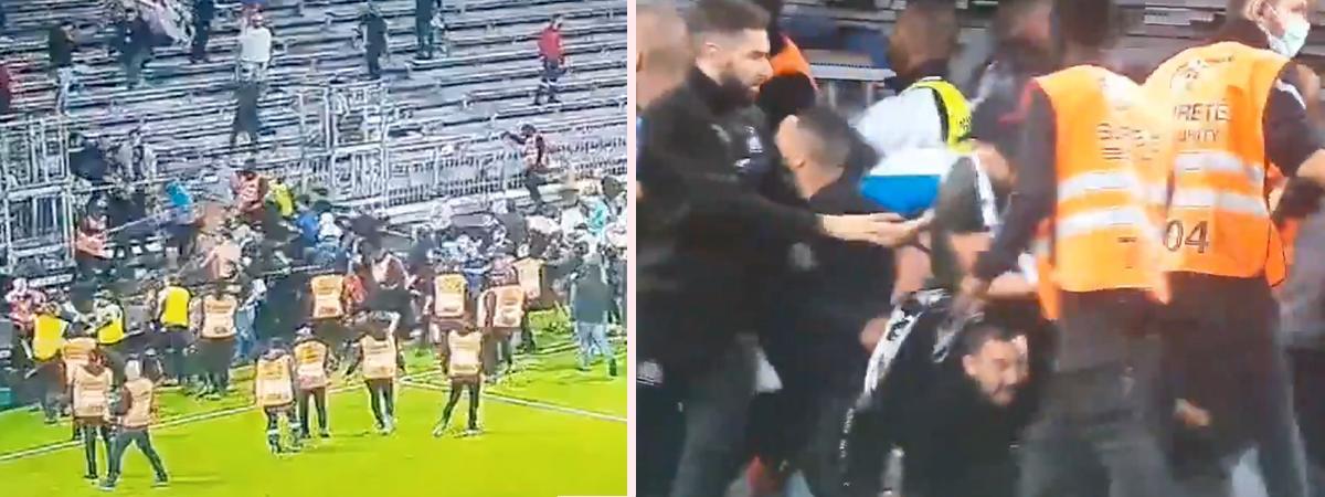 Matchen mellan Marseille och Angers i går urartade – en av flera Ligue 1-matcher att sluta i slagsmål bara i år.
