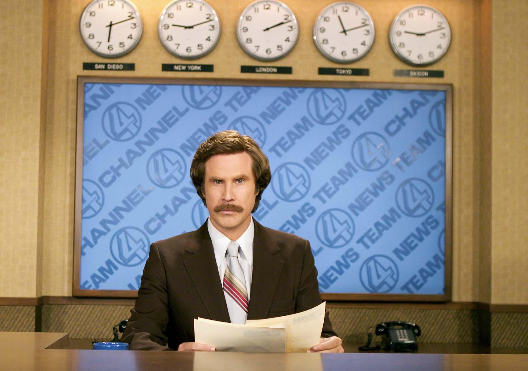 """Will Ferrell som  Ron Burgundy i  """"Anchorman – Legenden om Ron Burgundy""""."""