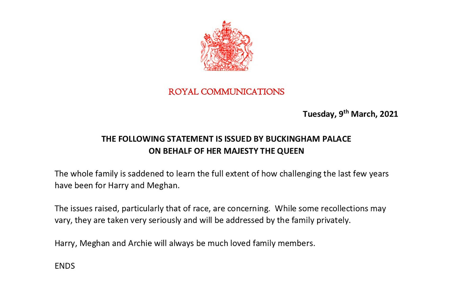 Drottningens uttalande efter den uppmärksammade intervjun.