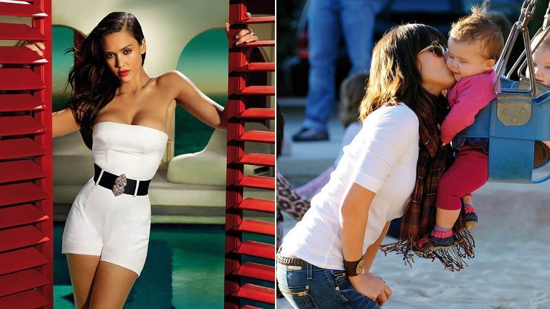 Foton tagna efter födseln I en uppmärksammad reklamkampanj för Campari och med lilla dottern Honor Marie i parken.