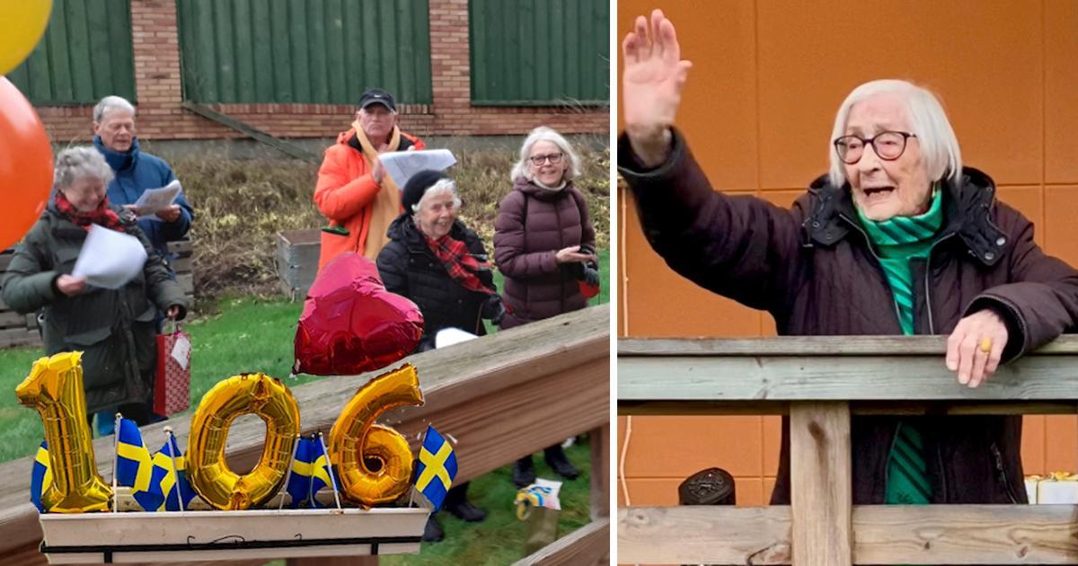 På Hildurs 106-årsdag samlades 25 personer utanför äldreboendet för att sjunga för henne.