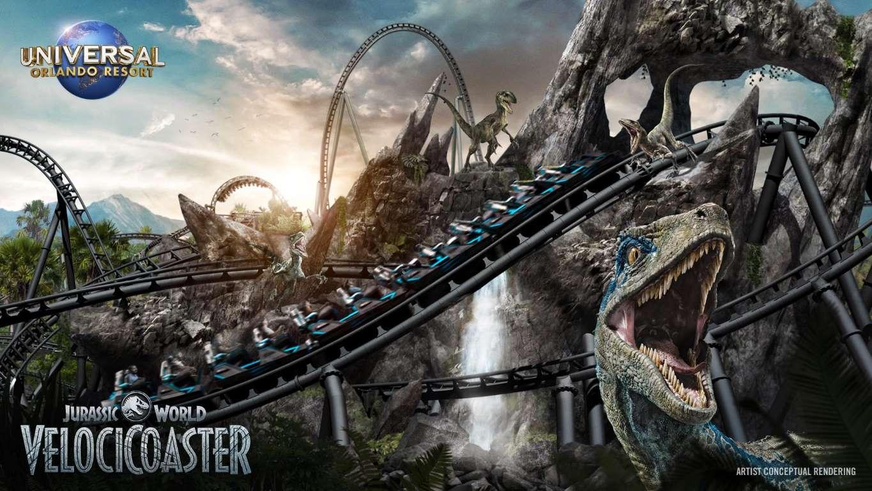 """""""Jurassic World""""-bergochdalbanan på Universal Orlando resorts i Florida öppnar sommaren 2021."""