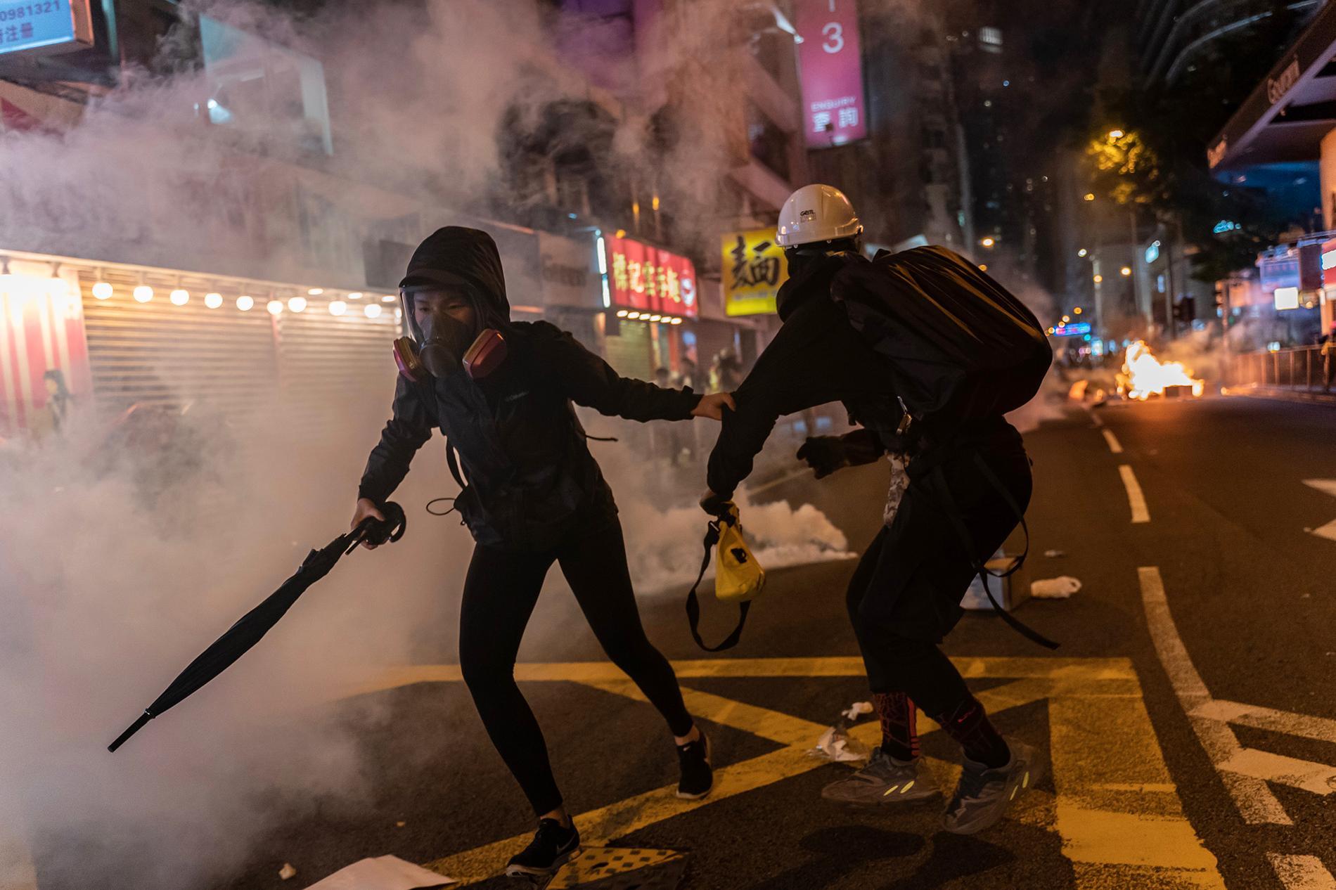 Oroligheter i Hongkong under lördagen.