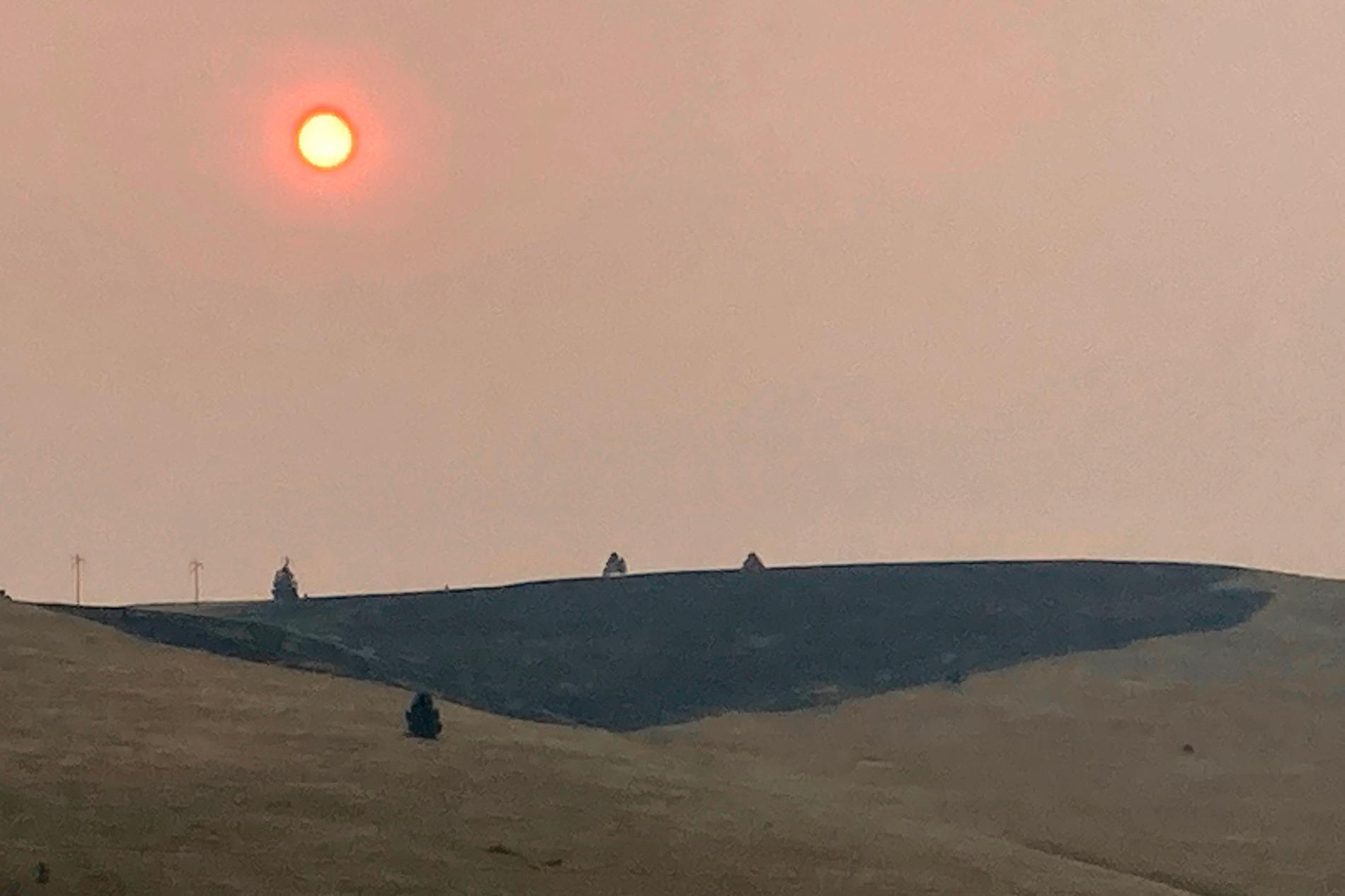 Brandrök förmörkar solen en julidag i Montana, USA. Årets juli var globalt sett den tredje varmaste som någonsin uppmätts.