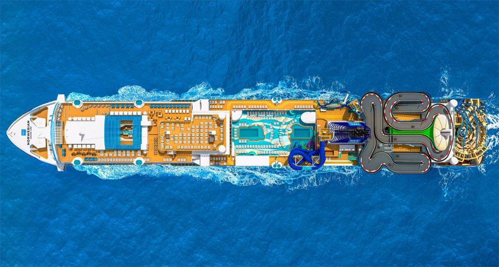 På Norwegian Encore kan du njuta av världens längsta gokart-bana till havs.