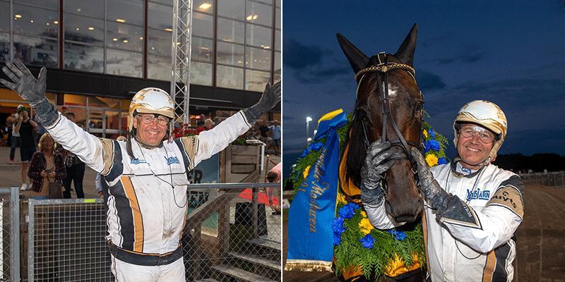 Per Nordström och Önas Prince efter segern i Sprintermästaren.