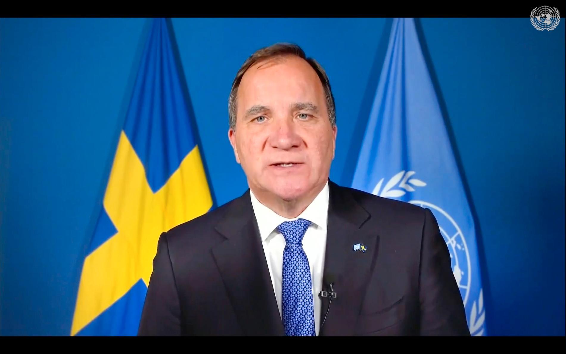 Stefan Löfven håller tal för FN:s generalförsamling.