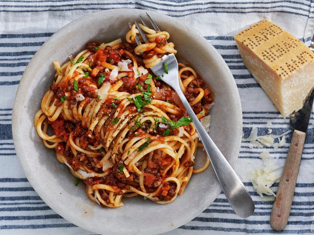 Spaghetti med linsbolognese