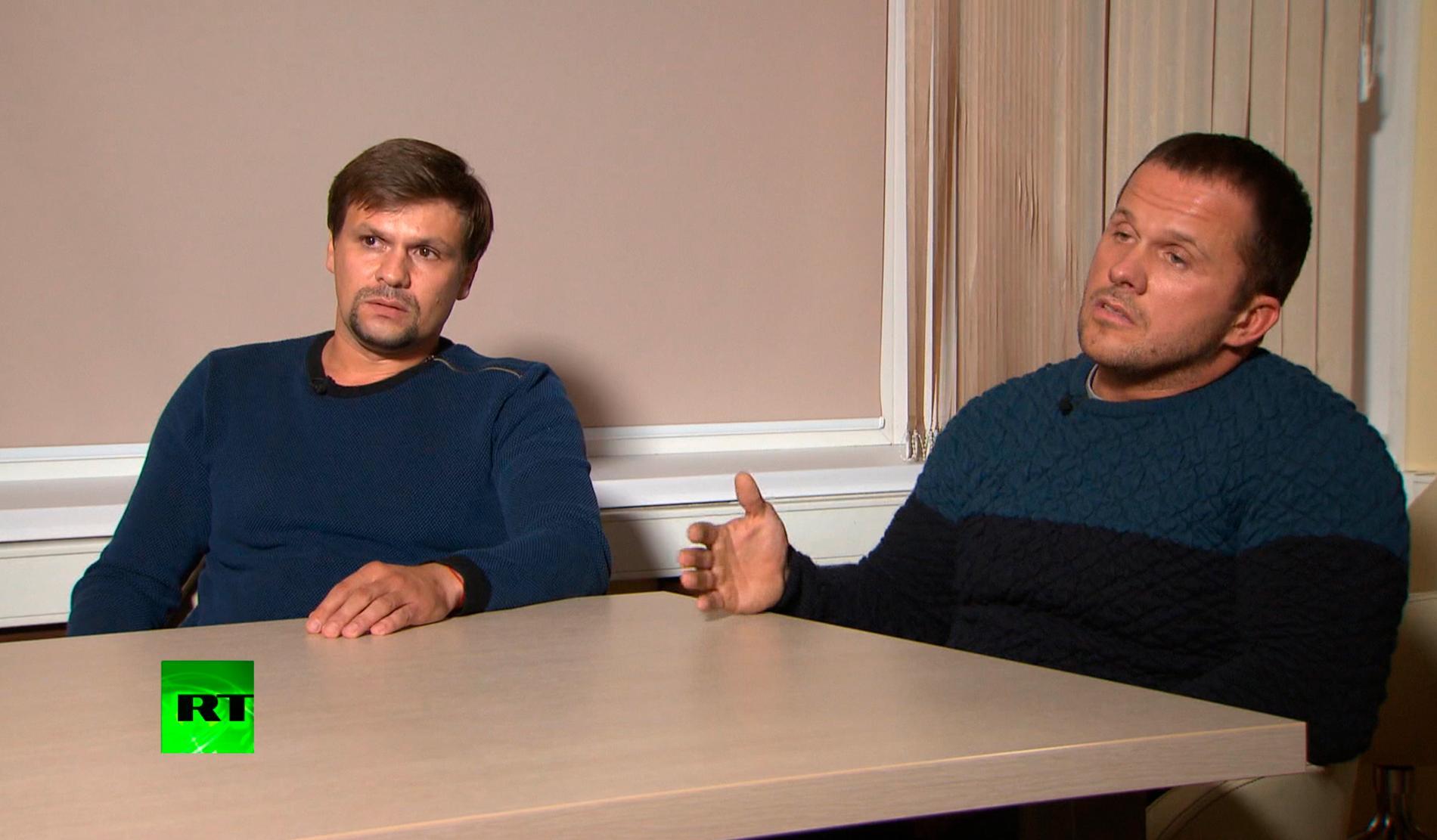 Männen som kallat sig Ruslan Bosjirov och Aleksandr Petrov avslöjades som GRU-agenter. Här i en skärmdump från den ryska statliga kanalen RT. Arkivbild.