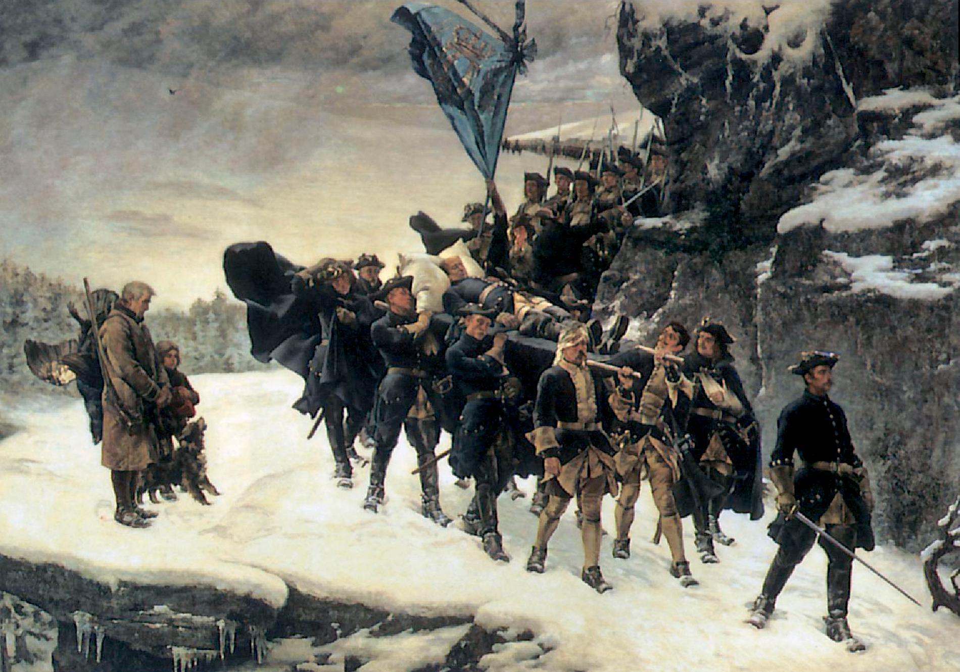 """Gustaf Cederströms målning """"Karl XII:s likfärd"""" från 1884. Arkivbild."""