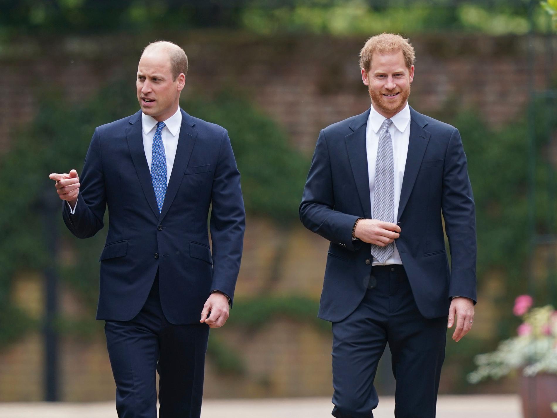 William och Harry under avtäckningen av statyn.