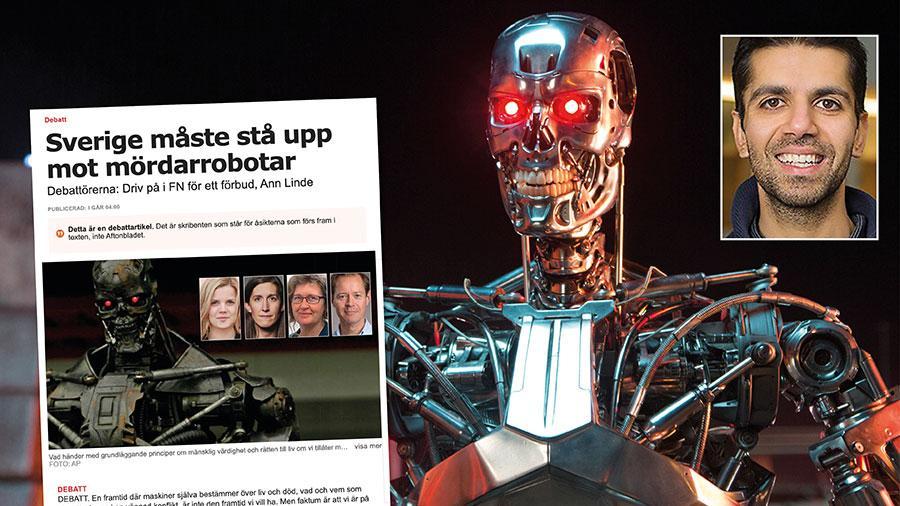 """Om autonoma vapen programmeras korrekt kan de teoretiskt agera i större enighet med internationell rätt och minska risken för civilt lidande, skriver Arash Heydarian Pashakhanlou. På bilden en mördarrobot så som den såg ut i """"Terminator""""-filmen."""