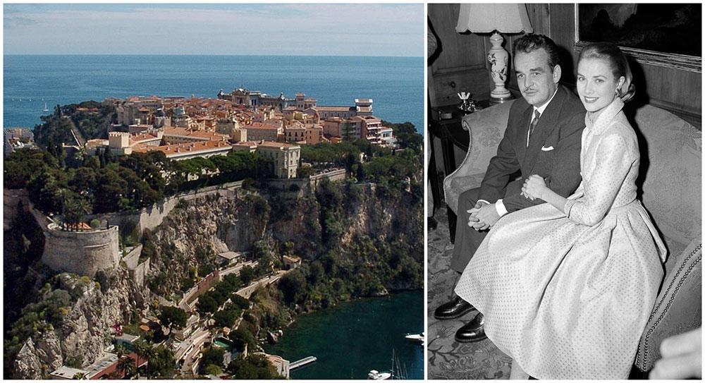 Det kungliga palatset i Monaco ligger på en klippa. Furst Rainier träffade Grace Kelly första gången på filmfestivalen i Cannes.