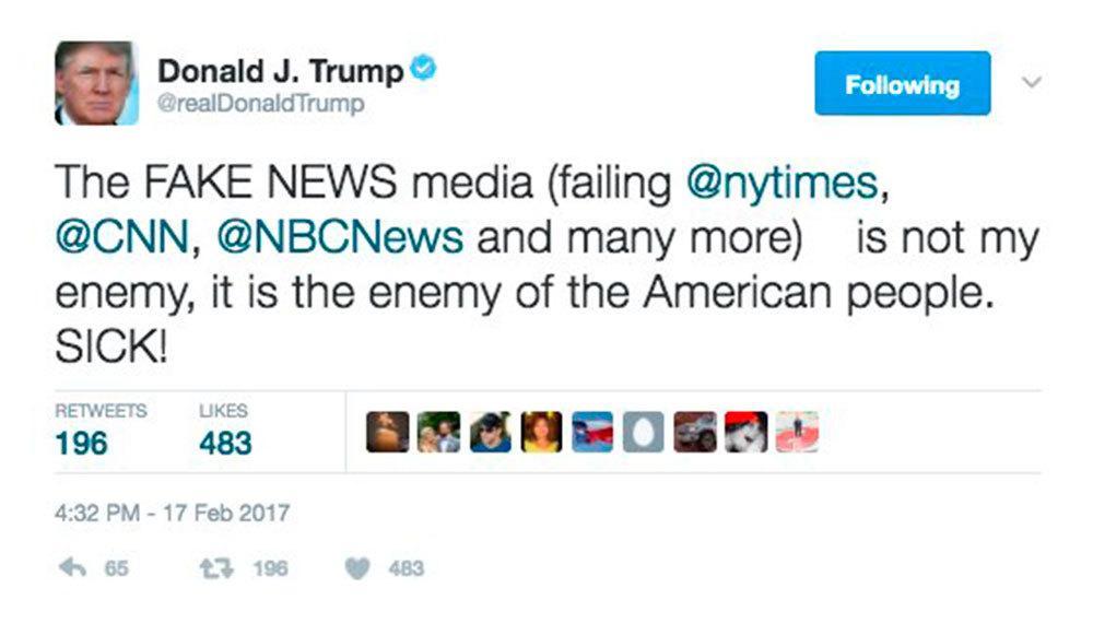 Faksimil från Donald Trump på Twitter