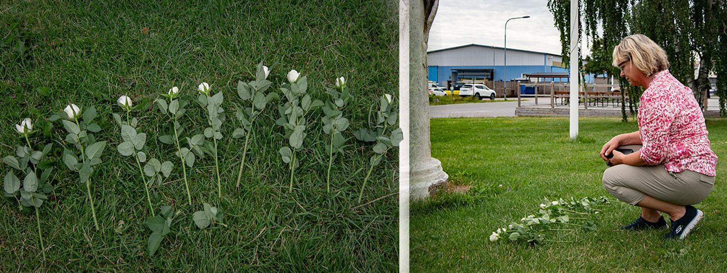 En av alla sörjande som sökt sig till minnesplatsen vid flygfältet är Lenita. Hon lägger ner blommor för att hedra offren: Nio vita rosor – en för varje död person.