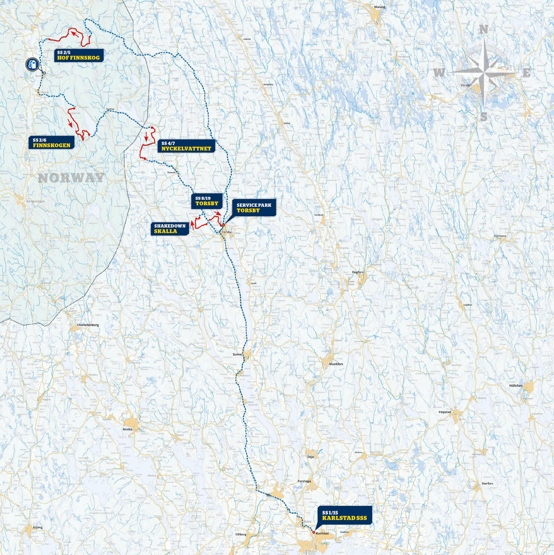 Karta till Rally Sweden dag 1, 2 och 3 (innan kortningen)