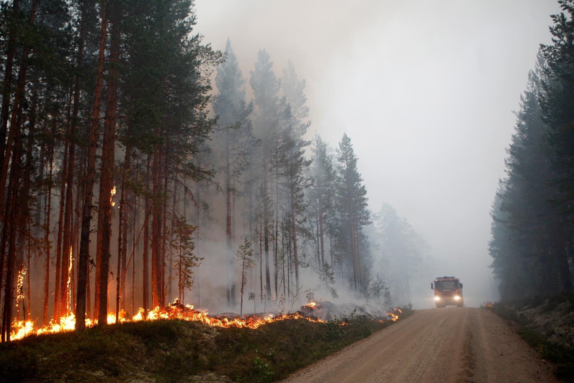 Det pågår en skogsbrand vid Kårböle strax utanför Ljusdal, men ett skyfall har minimerat spridningsrisken. Arkivbild.