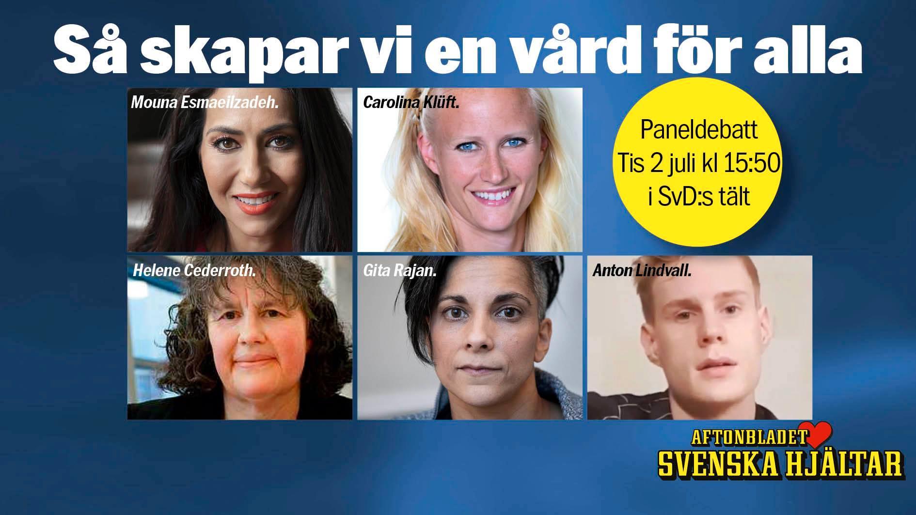 Carolina Klüft diskuterar framtidens vård med Svenska Hjältar under Almedalen.