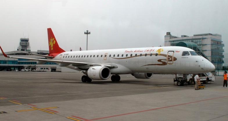 Ett av Tianjin Airlines flygplan.