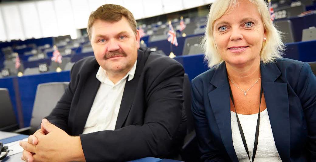 Sverigedemokraternas europaparlamentariker Peter Lundgren och Kristina Winberg.